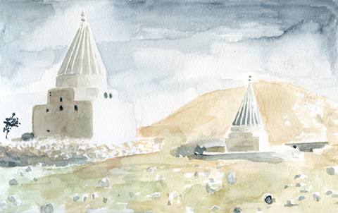 "Kurdish Cemetary    watercolor on paper  6"" x 9""  2009  (available)"