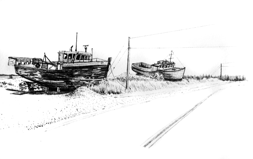 "Drydocked    Ink on paper  5"" x 7""  2014  (sold)"