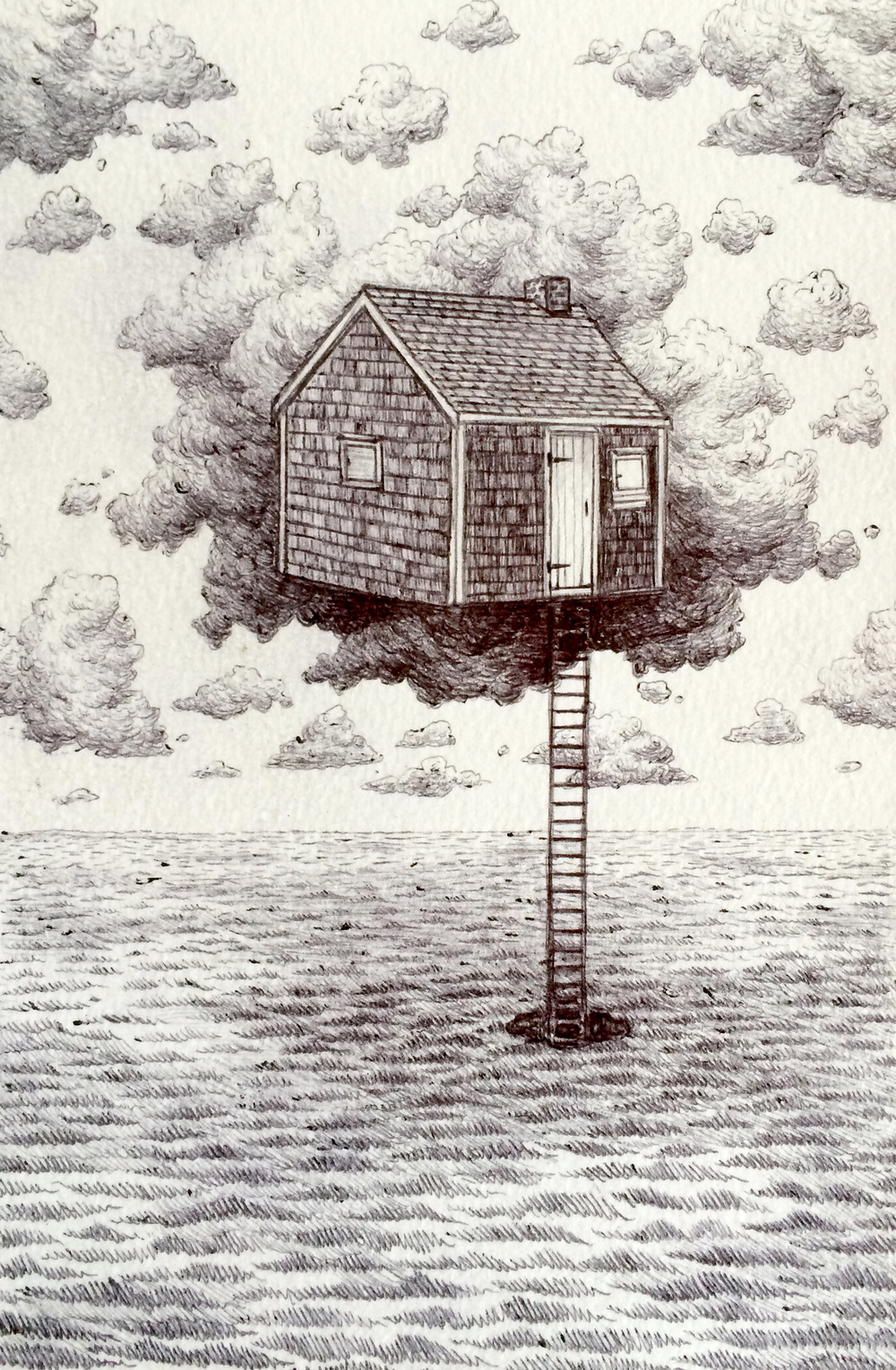 "Sea House    ink on paper  7"" x 5""  2014  (sold)"