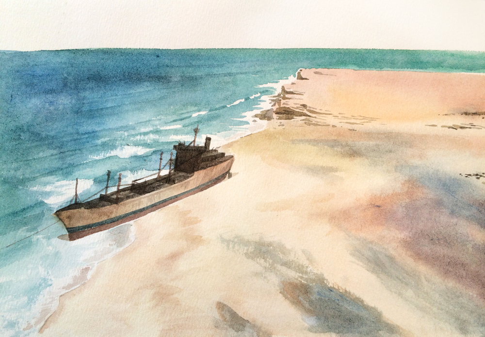 "Forsaken Shore    watercolor on paper  10"" x 16""  2014  (available)"
