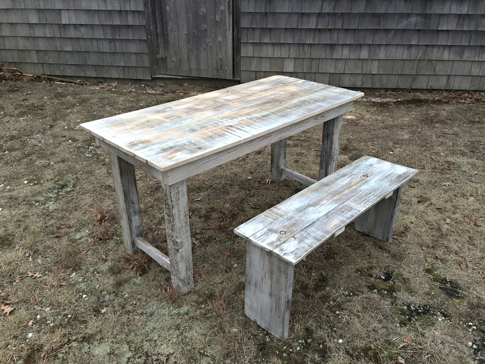 "Randall Table    reclaimed wood, driftwood, acrylic  60"" x 28"" x 30"" (table)  48"" x 12"" x 18"" (bench)  2015  (sold)"