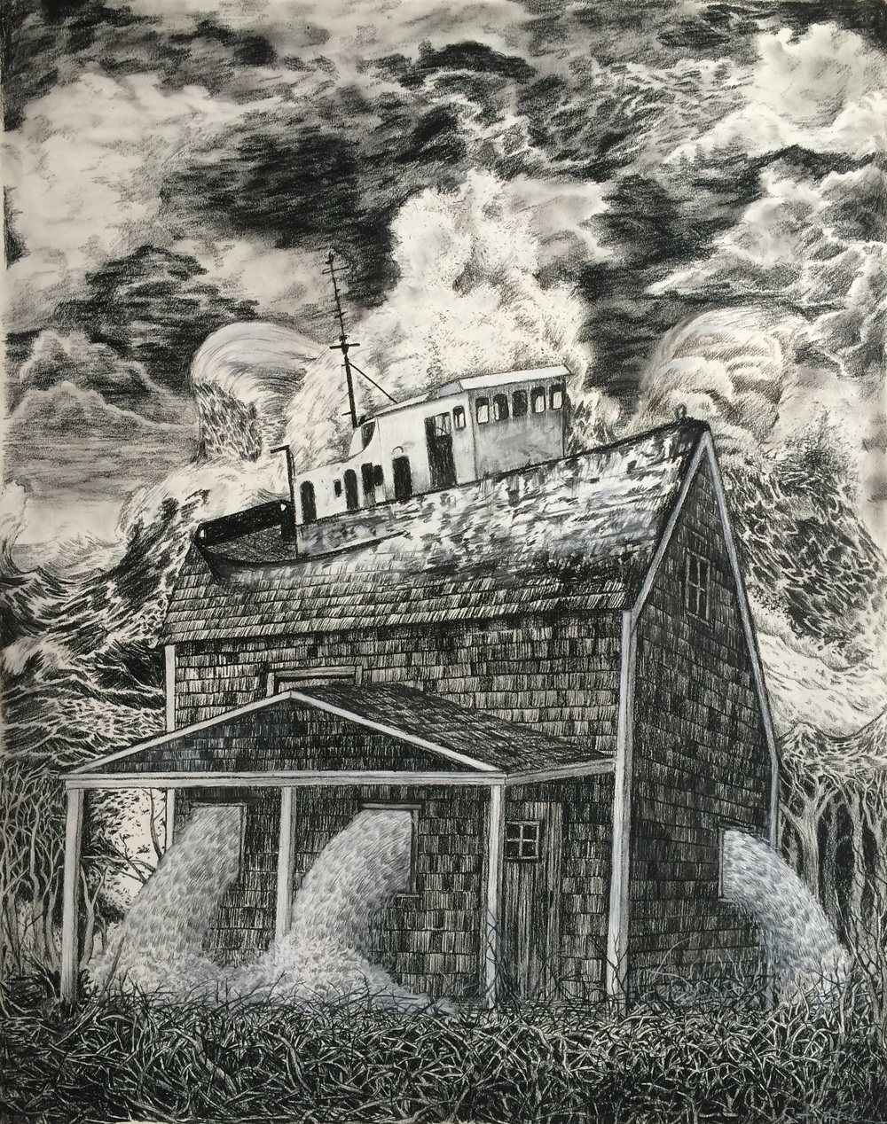 "Home at the Heart of the Sea    charcoal on paper  29"" x 23""  2015  (sold)"