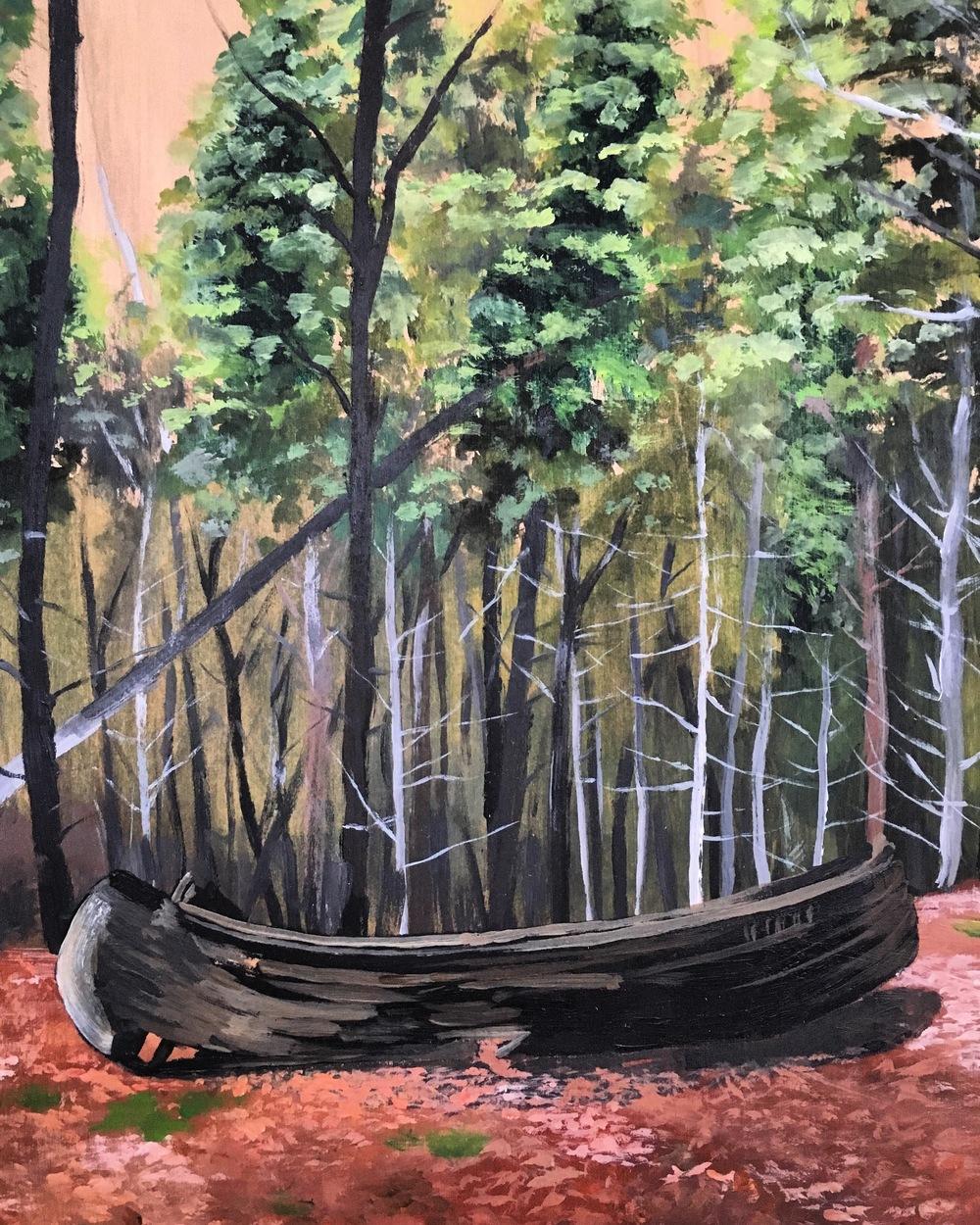 "Canoe Place    acrylic on wood panel  10"" x 8""  2015  (sold)"