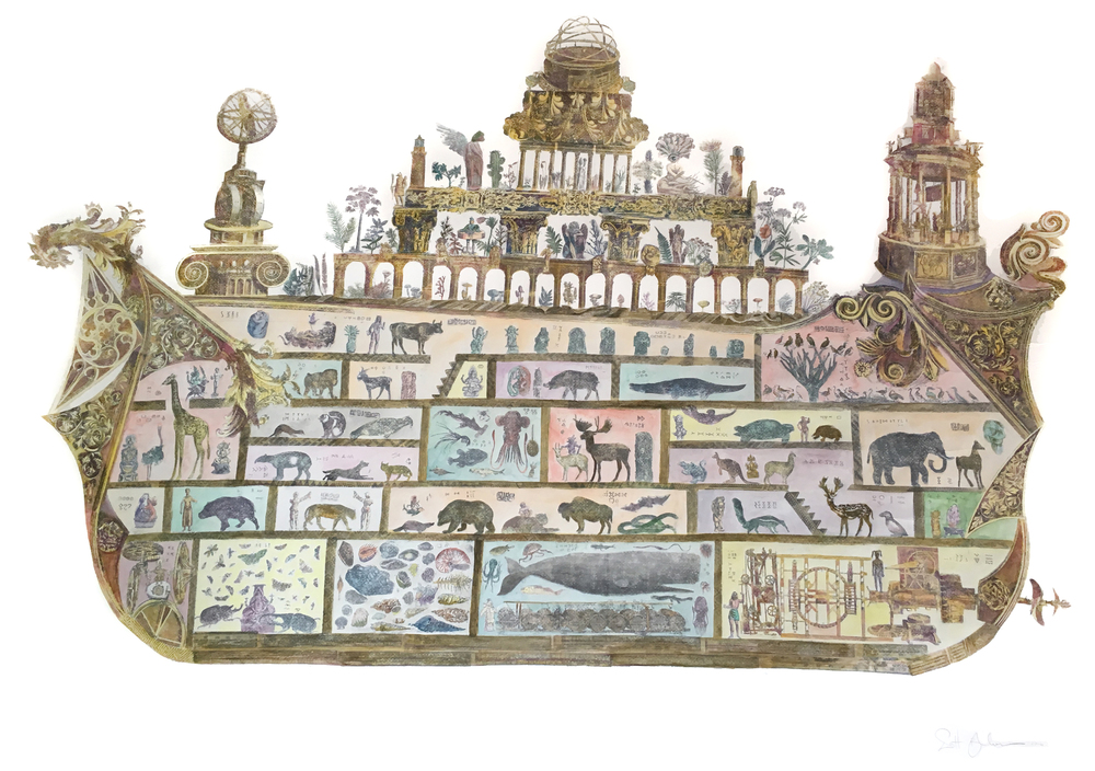 """Ark of Babel    xerox transfer collage and watercolor on paper  46"""" x 57""""  2016  (available)"""