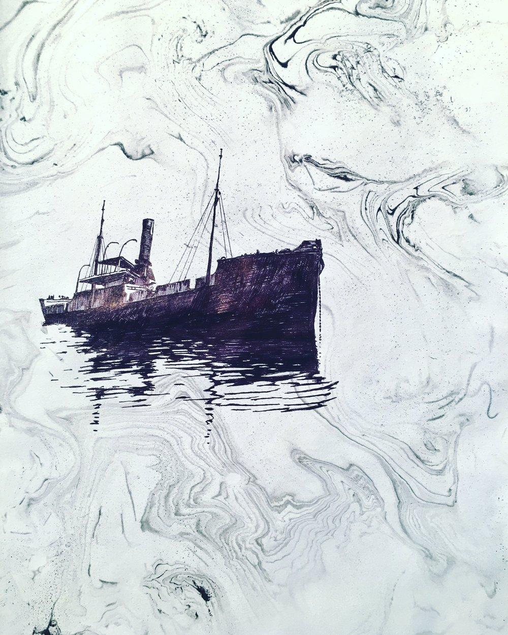 "Naufragium    ink on hand marbled paper  10.25"" x 8""  2017  (sold)"