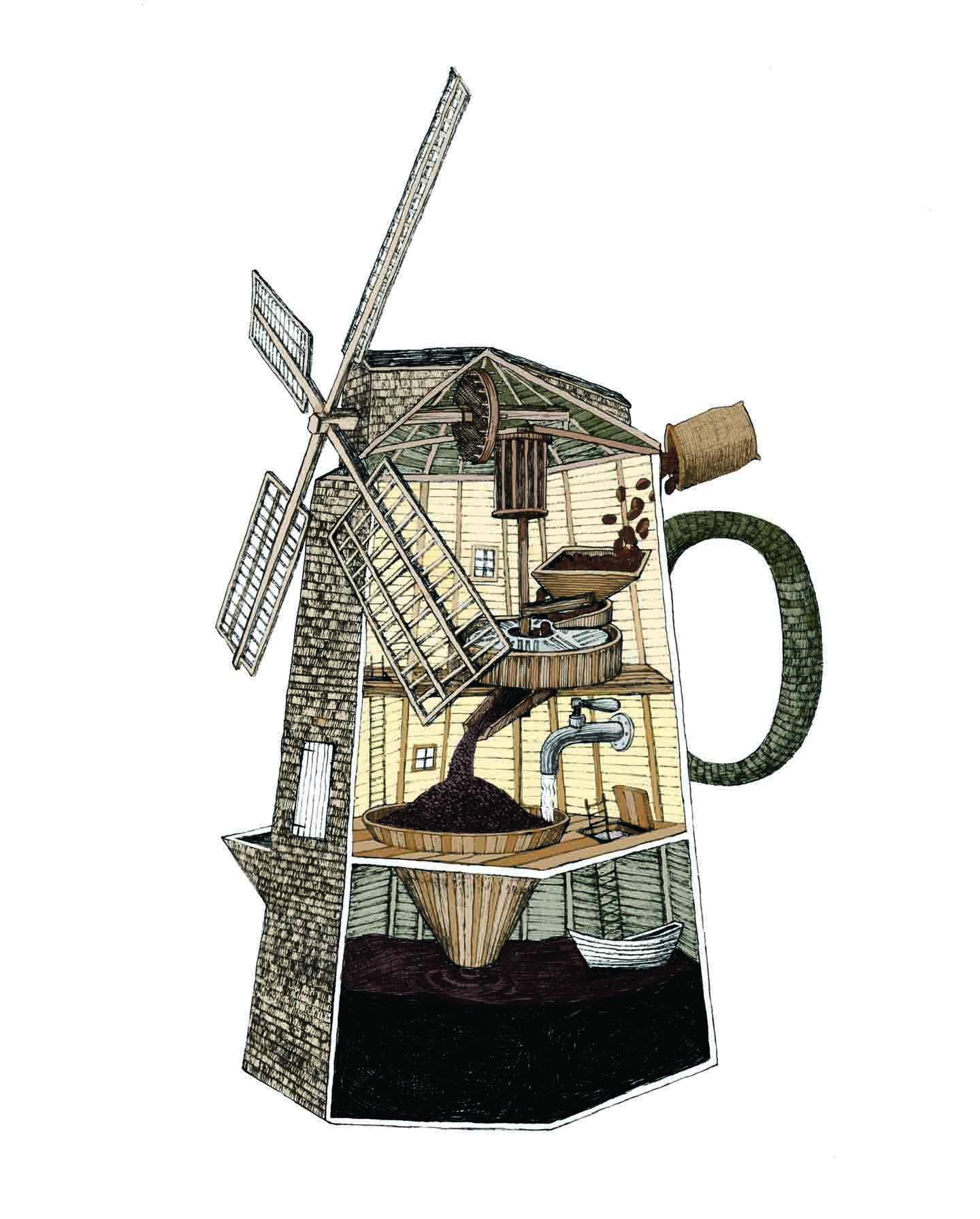 Grindstone Coffee Mill Ink And Digital Commissioned Illustration For Company 2016