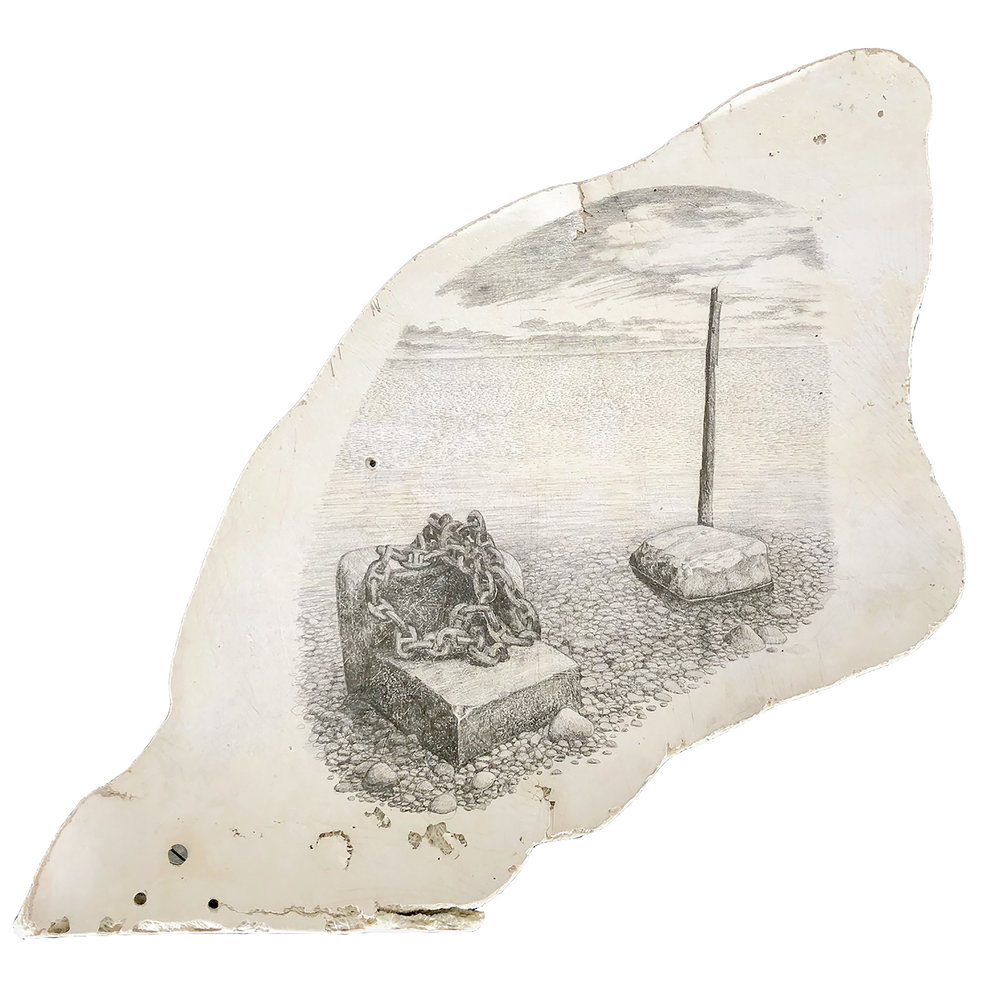 "Sea/Sky II    graphite on found fiberglass boat fragment  approx. 20"" x 18""  2018  (available)"