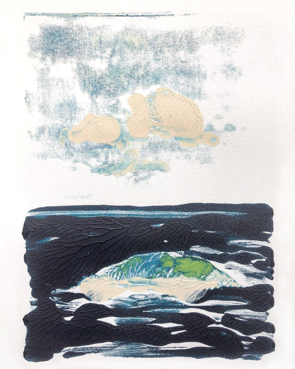 "Island:Cloud III (Island in the Stream)    gelatin monoprint  6"" x 8"" (9"" x 12"" sheet size"")  unique  2018  (sold)"