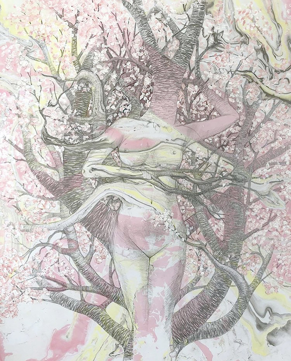 """Dryad    graphite, watercolor and acrylic on bristol board with suminagashi marbling  14"""" x 11""""  2018  (sold)"""