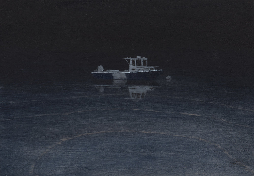 "Ghost Boat    acrylic on wood  5"" x 7""  2018  (available)"