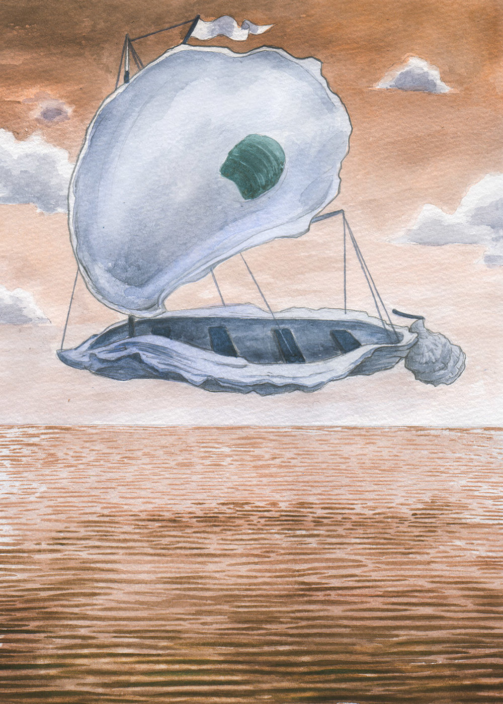 "Oyster Boat    watercolor and graphite on paper, digital  12"" x 9""  2018  For Oysterponds Historical Society"