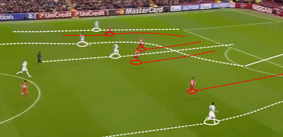 Isco carries the ball a long way up the pitch through the middle, with Ronaldo, Benzema and Rodríguez making runs to facilitate it by dragging defenders away.