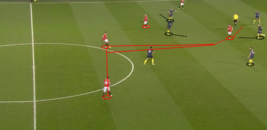 Southampton's midfield (Schneiderlin, Wanyama, Davies and Ward-Prowse) are all tucked in very narrowly, giving no room between the lines and nowhere to go forward, forcing Man Utd's midfielders to drop deep in attempts to try and receive the ball in any kind of space.