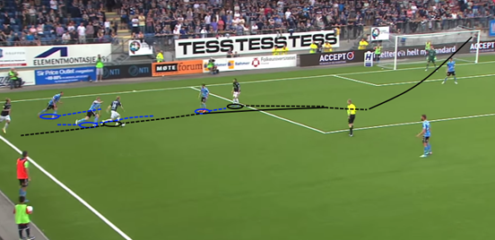 Ødegaard's burst of acceleration and balance helps him to burst away from two defenders, driving another one backwards slightly before playing it to his teammate (now unmarked after Ødegaard created space for him) who finishes brilliantly into the far corner.