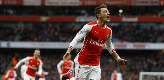 Mesut Özil was one of the many players who thrived with the space that Aston Villa gave Arsenal on the counter-attack, grabbing a goal and an assist.