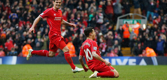 Coutinho, the best player on the pitch in the game at Anfield, celebrates what turned out to be the goal which won Liverpool the game.