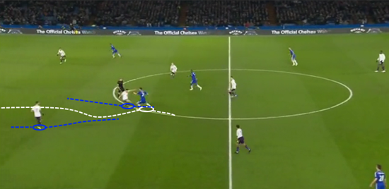 Having initially given Nemanja Matić far too much time to control the ball and drive at them, Everton's midfielders both charge forward in a poor coordinated late attempt to close him down; and both overcommit which allows the Serbian to break through the line into space.