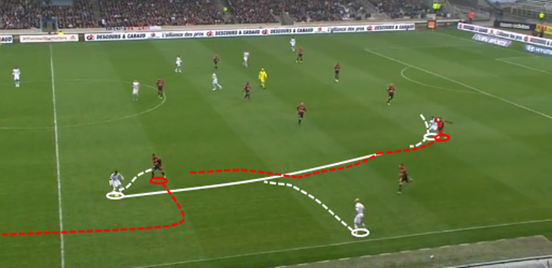 After doing excellently to outmuscle his opponent and intercept a pass from deep, Amavi carries the ball forward at pace; a movement which draws in two opposition players and creates space for his teammate (who he ends up passing to at the end of the quick dribble) to run forward into.