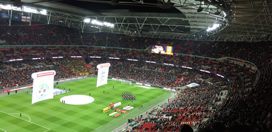 My view from the top of the stands at Wembley, just before the national anthems started