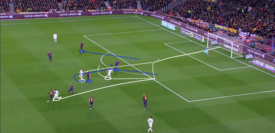 With Luka Modrić's incisive passing from midfield, Benzema can get more of the ball and then find a greater number of ways to bring other attackers into the game; as he does with a clever back-heel for Ronaldo here.