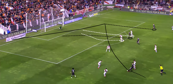 Rodríguez offers a great drive from midfield in possession, and he's a player who can really help to bring the attack into the game – switching the play excellently to find Ronaldo on the far side.