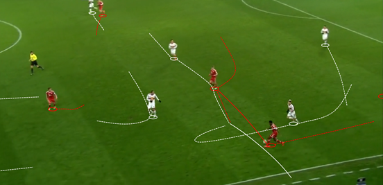 After the ball was played to David Alaba on Bayern's left side and he begins to run up the line, the Red Bull Salzburg players hasten their press and overload the area around the ball. Some of Alaba's passing options are blocked through man-marking, whilst Bastian Schweinsteiger (who receives the ball) is pressed by two players as soon the pass is played. This puts him in an area he can't escape and Salzburg can win possession in a very advanced position – although in the end the ball ends up coming off one of their pressers for a Bayern throw-in. Things like this completely restricted Bayern's build-up throughout the game.