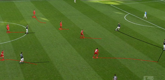 This picture demonstrates Bayer Leverkusen's general shape out of possession, which is something of a 4-4-2 / 4-2-4: the two central midfielders are sat in behind the front four, with Çalhanoğlu alongside Kießling and the two wide players tucked inside. It also shows one of their pressing triggers and Bellarabi's usefulness in pressing, with him closing down the opposing defender after he's slow to get it out of his feet and then intercepting the following pass.