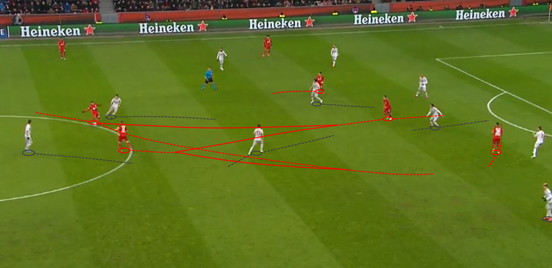 With Castro looking to bring the ball into Atlético's half, Çalhanoğlu (who was initially stationed between the two centre-backs) drops deep to provide Castro with a passing option. His run into space helps to form a triangle in the middle and pulls one of Atleti's central midfielders towards him, and he plays a pass back to his other midfielder Bender. Bender then plays a pass to Castro and he is able to run into the space which has appeared as a result of Çalhanoğlu dragging the player away.