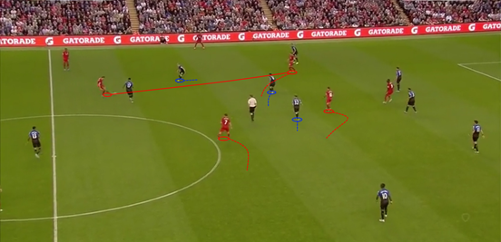This shows the diamond shape which Liverpool's midfielders formed against Bournemouth, with Henderson at the base, Milner slightly further forward and both Coutinho and Lallana in central zones too; a set-up which meant there was almost always a spare man in the middle.