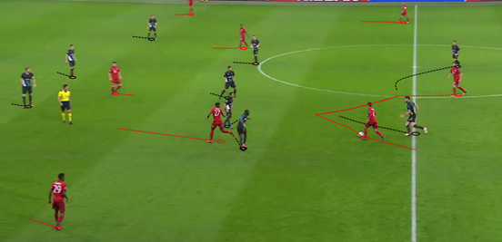 This gives some idea of Bayern's shape when they had the ball, particularly for the full-backs, with Alaba making runs in the half-space area close to Thiago whilst Lahm is the widest player on the far side.