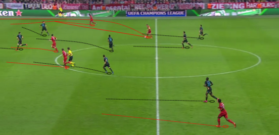 After passing the ball to Costa on the right side, Lahm makes an overlapping run outside him to create a two-on-one - and Lahm is able to get a cross into the box when Bayern eventually get higher up the pitch (which they score from).