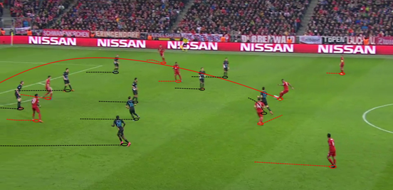 With players like Alonso, Thiago and (in this instance) Boateng regularly left with time on the ball, Bayern were able to constantly manipulate the ball and Arsenal's shape at will.
