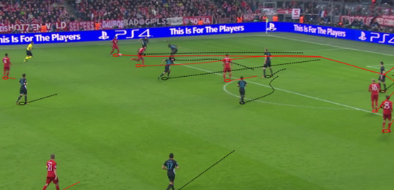 A switch of play from Alonso enables Costa to take on his opposing full-back, and then he slides a wonderful pass through to Alaba after the Austrian's penetrative run. He then finds Robben at the near post, who slots it home to put a dominant Bayern 4-0 up.