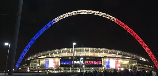 Liberté, Égalité, Fraternité - Wembley not only looked beautiful in blue, white and red, but it was also a touching tribute after what happened in Paris a few days earlier.