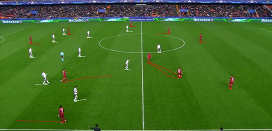 Lyon's shape while in possession was typically a 4-3-3 - with Gonalons the deepest midfielder and the key player for their ball circulation. The full-backs also pushed up, and Grenier came inside from the left flank.