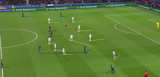Verratti's brilliant ability to play line-splitting passes meant that Chelsea's shaky defensive shape was often exposed, and when PSG attacked with a wider shape that made it even easier for him.