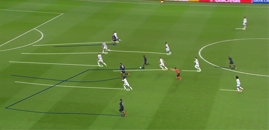 Matuidi's dynamic runs from midfield were, alongside the passes from Motta and Verratti, another method that PSG used to break through the weak lines that Chelsea set up in.