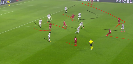 Bernat, Alaba and Lahm all contributed to the midfield overloads that Guardiola demanded, helping Bayern's ball progression and enabling them to launch attacks after initially building possession from the back. Robben on the far side, meanwhile, offered lots of width on the right.