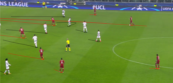 Both Alaba and Kimmich stepped forward with possession into the midfield regularly, and here the latter spots a great run for Lahm and threads a pass through for him. This quickly resulted in, other than their goal, Bayern's best chance of the first-half.