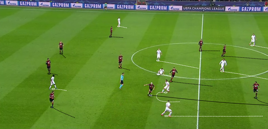 Playing Kampl in central areas gives him more opportunities to break the lines of the opposition, and he does so here by using a quick shifts of the body to manipulate enough space for him to thread a pass through.