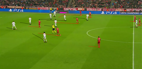 Juventus' typical shape off the ball was a 5-4-1, and the compactness (both vertically and horizontally) which they held within it caused great problems for Bayern.