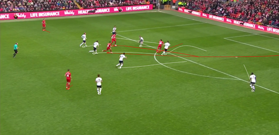 By making a penetrating run behind the Spurs defence, Lallana managed to open up space on the edge of the box for Coutinho to run into. Sturridge then fed the ball through to him, and the Brazilian was able to finish nicely into the corner.