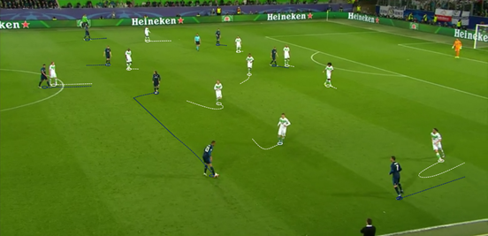 Real Madrid struggled to get between the lines that Wolfsburg created, something which their midfielders were particularly guilty of not doing, and that meant a lot of their possession was incredibly stale and ineffective.