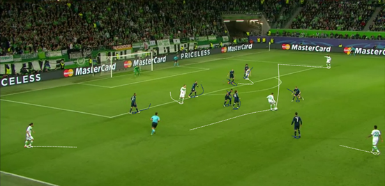 Draxler caused Real Madrid a lot of problems all night, and he was at the heart of the creation of the second game: cutting in from the left here and finding his teammate, Henrique, free on the far side of the box. Henrique then held onto the ball before eventually crossing for Arnold to put it away.