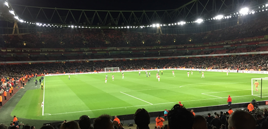The Emirates looking pretty (and a little bit empty) at half-time.