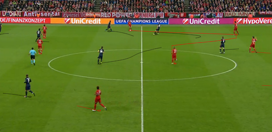 Bayern's build-up shape typically involved Xabi Alonso dropping into the same line as the centre-backs, and that (in combination with excellent spacing throughout the team) helped them to easily play out from the back.
