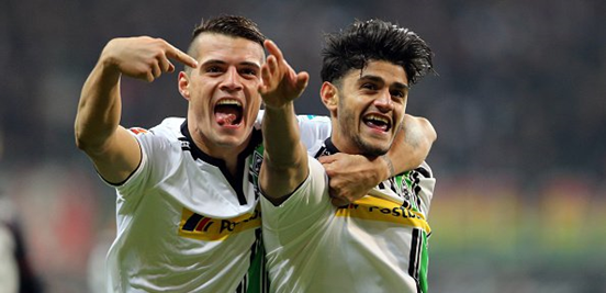 Xhaka (left) and Dahoud (right) have formed a wonderful partnership in the centre of midfield together for Gladbach.