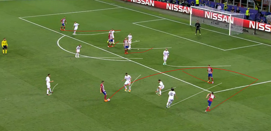 Atleti's goal came as a result of their consistent pressure in the second-half, as well as their good utilisation of their full-back, with Juanfran providing a run behind the defence here to get in a good crossing position (and Carrasco finishes nicely under pressure at the far post after the Spaniard's first-time cross).