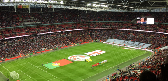 The England and Portugal teams lining up ahead of a not-so-thrilling game at Wembley.