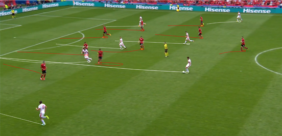 Seferović's attacking runs into the half-spaces, seeing him pull into the gaps between Albania's centre-backs and full-backs, regularly helped him to provide a passing option for the midfielders behind him. With someone of the distributional talent of Xhaka there to find him too, as he did perfectly here, it was a surprise to not see Switzerland make even more of it.